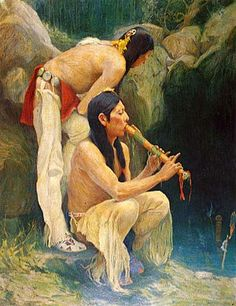 Painting of Native American Flute player