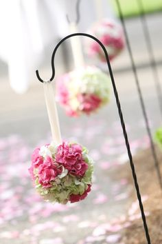 Hanging Flower Balls down the aisle