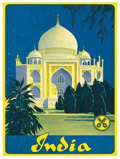 India Art Print Taj Mahal Travel Poster TR95 door Blivingstons