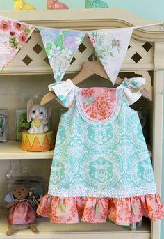 Girls Spring Dress  Tangerine Dream Ruffle Dress by LottieDaBaby, $48.00