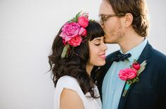 Lovely hot pink + magenta flowers in this cute hairpiece with a cute boutonniere to match