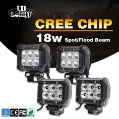 COLIGHT 4x18W Square Pods Light Led chip Spot Flood Beam 6500K 1800lm Working Light for Lada UAZ GAZ Jeep 4x4