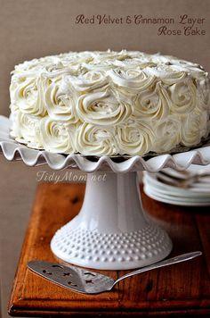 Red Velvet Cinnamon Layer Rose Cake TidyMom.net #Christmas #Cake