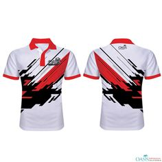 Sublimated Sport Polo Shirts - White, Red and Black Polo Manufacturer in USA, Australia, Canada, Europe and UAE Work Polo Shirts, Black Polo T Shirt, Custom Polo Shirts, Polo Shirt Style, Sports Polo Shirts, Polo Shirt Outfits, Polo Shirt Brands, Printed Polo Shirts, Custom Printed Shirts