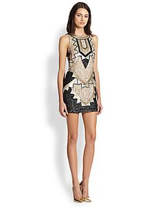 needle & thread Art Deco Beaded Mini Dress, Saks