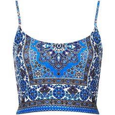 TOPSHOP Petite Folk Tile Bralet (€29) ❤ liked on Polyvore featuring tops, crop tops, shirts, blusas, bralets, blue, petite, topshop shirt, petite tops and print top