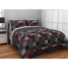 teen bed frams sets for boys black | Black Red Block Comforter Sheets Sham Set Dorm Teen Kids Room Girls ...