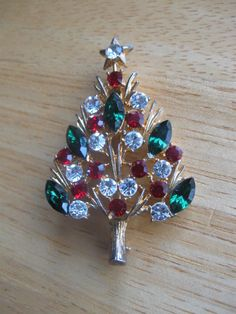 "STUNNING 2 1/4"" EISENBERG ICE CHRISTMAS TREE PIN BROOCH SIGNED GREEN RUBY RED #EISENBERG"