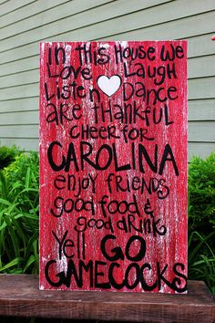 "Wooden Art, Wooden Signs, Wood Signs, College Art, Painted Art, Wood Art, Distressed Wood Sign Art: ""South Carolina Gamecocks Fun Sign"". $45.00, via Etsy."