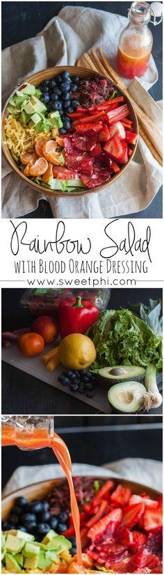 Rainbow salad with blood orange salad dressing, rainbow fruit and vegetable salad, rainbow salad with chicken, pretty salad, beautiful salads, blood orange salad dressing