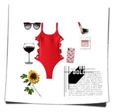"""""""Red is the new Black"""" by nomi786 ❤ liked on Polyvore featuring Calvin Klein, Samsung, Gucci, Wyld Home, Bobbi Brown Cosmetics, BeachPlease and vacayoutfit"""