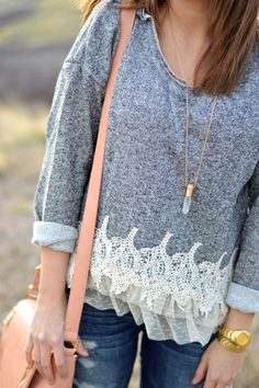 the romantic details in this sweater