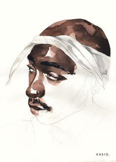 kasiq fashion portrait on Behance Watercolor Portraits, Watercolor Cards, Watercolor Paintings, Watercolours, Art Hoe Aesthetic, Light Background Images, Guache, Figure Painting, Portrait Art