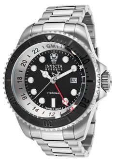 Invicta 16966 Watches,Men's Hydromax Pro Diver Reserve GMT SS Black Dial & Bezel, Diver Invicta Quartz Watches