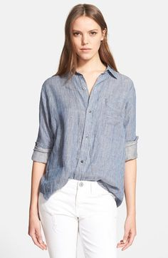 Current/Elliott 'The Prep School Shirt' Linen Shirt available at #Nordstrom