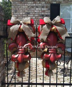 Fleur de Lis door swags with chevron burlap ribbon