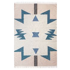 Kelim Blue Triangle Rug 200x140cm, Ferm Living