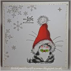 Morning Peeps I'm back with a couple of CAS cards for Sunday, I quite like this … – Christmas DIY Holiday Cards Cat Christmas Cards, Diy Holiday Cards, Watercolor Christmas Cards, Homemade Christmas Cards, Christmas Drawing, Christmas Kitty, Black Christmas, Merry Christmas, Penny Black Cards