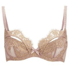 L'Agent by Agent Provocateur Women's Iana Non-Padded Balcony Bra -... ($98) ❤ liked on Polyvore featuring intimates, bras, bow lingerie, padded shelf bra, underwire bras, balcony bra and metallic gold bra