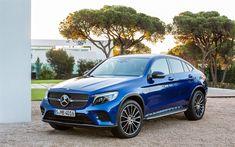 Download wallpapers Mercedes-Benz GLC-Class, AMG, 2018, C253, blue crossover, blue GLC-Class, german cars, Mercedes