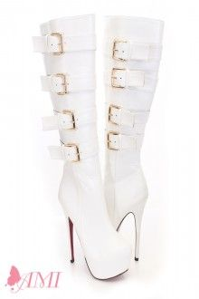 White Faux Leather Knee High Platform Pink Bottom Boots