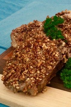 These air fryer pecan-crusted pork chops are a quick and easy pork chop recipe! Cook the best pork chops using pecans, cinnamon, and pork chops. You will love cooking this air fryer dinner recipe for an easy weeknight dinner!