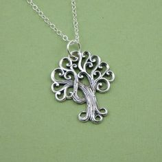 Swirly Tree Necklace , sterling silver, pendant, handmade,  tree jewelry. $39.00, via Etsy.