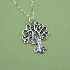 Swirly Tree Necklace , sterling silver, pendant, handmade,  tree jewelry. $39.00, via Etsy.