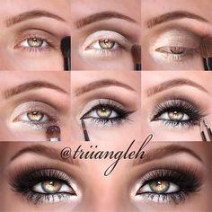 Sparkling shimmering sunny white gold and bronze eye makeup tutorial in #evatornadoblog