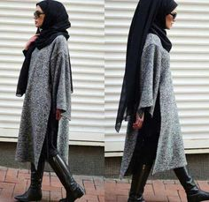 long-grey-tunic-dress-with-hijab- How to wear ankle boots with hijab
