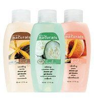 Avon NATURALS Mini Shower Gel Vanilla by Avon. $0.99. All Washed Up.. Gently cleansing, deliciously scented body wash that pampers skin again and again. Grab a bunch, give a ton (they are perfect for gifting). In Gardenia, Vanilla, Peach, and Cucumber Melon. Each, 1.7 fl. oz.Minis sized to meet current U.S. Transportation Security Administration's air travel regulations, as of 9/15/07....Please note that in your shipping confirmation you will be asked to let us know if you...
