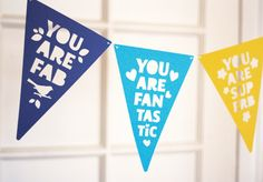 Complimentary Bunting printable by How about Orange.