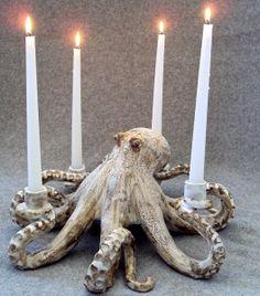 octopus candle | Octopus Candleabra Ceramic Sculpture: Beach Decor, Coastal Home Decor ...