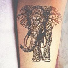 Wow! an absolutely gorgeous elephant tattoo. #geometric tattoo #elephant