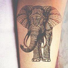 Wow! an absolutely gorgeous elephant tattoo. #geometric tattoo #elephant