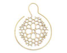 Hoop Earrings - Coral Earrings - Brass Earrings - Geometric Jewelry