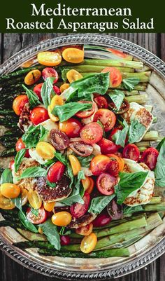 with Tomato, Halloumi Cheese and Sherry Vinaigrette BEST roasted asparagus salad with tomatoes, basil, and a lightly sherry vinaigrette! Make this show-stopping dish or add halloumi or Greek feta for a twist! Grab recipe and tips on BEST roasted asparagus Vegetable Recipes, Vegetarian Recipes, Cooking Recipes, Healthy Recipes, Potato Vegetable, Easy Recipes, Mediterranean Diet Recipes, Mediterranean Dishes, Cheap Clean Eating