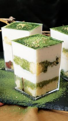 Tofu makes for a yummy dessert! Sweetened with a Japanese rice drink, this super silky tofu is layered with sponge cake and matcha syrup. Asian Desserts, Easy Desserts, Delicious Desserts, Dessert Recipes, Yummy Food, Sushi Recipes, Tofu Dessert, Matcha Dessert, Japanese Sweets