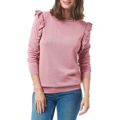 Sugarhill Boutique Esme Frill Jumper (3.400 RUB) ❤ liked on Polyvore featuring tops, sweaters, dusky pink, pink sweater, patterned sweater, pink long sleeve top, flutter sleeve top and ruffle sleeve sweater