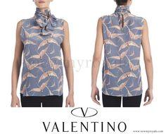 Valentino Printed Silk Tie-Neck Top www.newmyroyals.com