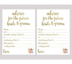"""Advice for the future Bride & Groom Gold Bridal Shower Game Printable Instant Download ---------------------------------------------------- This is a DIGITAL PRINT DOWNLOAD. ★ NOTHING WILL BE PHYSICALLY MAILED TO YOU ★  INSTANT DOWNLOAD  To see more cards and bridal shower games: https://www.etsy.com/shop/PicturesKit?section_id=19059877  This listing includes four (4) instantly printable downloadable digital files. Your order will include the following:  ► One 5""""x..."""
