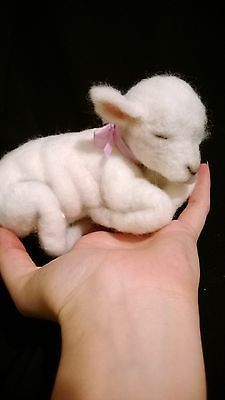 ooak+artist+bear+needle+felted+baby+lamb+so+real+7+inches+great+Easter+gift