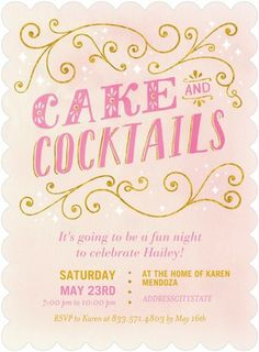 Cake and Cocktails - Adult Birthday Party Invitations - Hallmark - Chenille - Pink