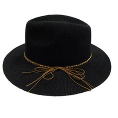 7b5884687277c Knitted Panama Hat with Beaded Band - Black