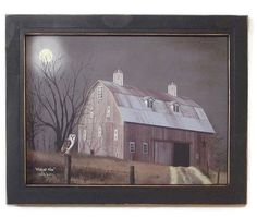 Nuit de lune, Primitive Home Decor, hibou et Grange photo, Tenture murale, décor…