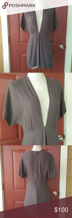 Reformation Deep V Neck Mini Dress New without tags! Super flattering and fitted at the waist. Grayish-taupe color. Reformation Dresses Mini