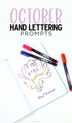 Download this FREE October Hand lettering prompts and worksheet so you can practice lettering daily! #tombowpro #tombowfudenosuke #fudenosuke