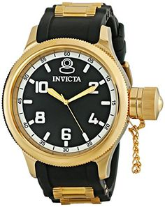 Invicta Mens 1436 18k Gold IonPlated Stainless Steel Russian Diver Watch >>> Be sure to check out this awesome product.