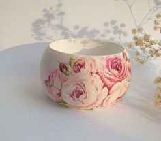 """Широкий браслет """"Фарфоровые розы"""" - Декупаж,деревянный браслет,широкий браслет"""