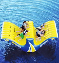 Get the whole family in on the fun atop this ten-person water raft. The boys on one side can take on the girls on the other to see who can rock the teeter-totter hardest and splash the other team. This looks like soooo much fun. I have to get this!!!!